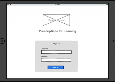 "Balamiq Mockup for Tablet ""Prescriptions for Learning"" – Sign In Screen"