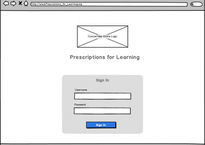 "Balamiq Mockup for Web Browser ""Prescriptions for Learning"" – Sign In Screen"