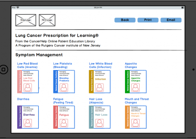 "Balamiq Mockup for Tablet ""Prescriptions for Learning"" – Lung Cancer Prescription for Patients"
