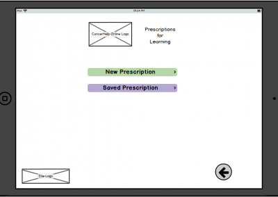 "Balamiq Mockup for Tablet ""Prescriptions for Learning"" – New or Saved Prescription"