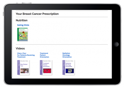 "Web App ""Prescriptions for Learning"" – Patient Prescription View – Nutrition & Videos"