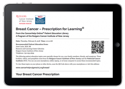 "Web App ""Prescriptions for Learning"" – Patient Prescription View – Breast Cancer"