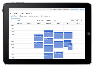Online Cloud Database – Calendar View