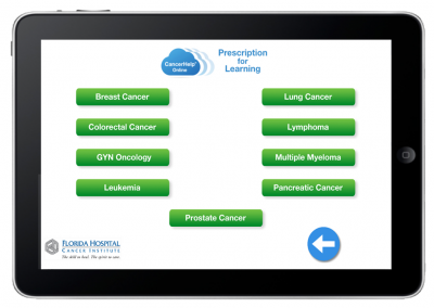 "Web App ""Prescriptions for Learning"" – Menu to Select a Type of Cancer Education Pathway"
