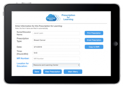 "Web App ""Prescriptions for Learning"" – Doctor/Nurse Launch ""Prescription"" for Patient"
