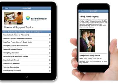 "Mobile-Friendly Website – ""Care and Support Topics"" from Essentia Health"